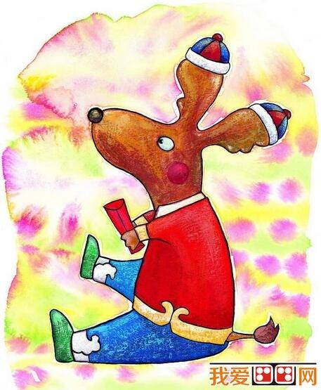 儿童水粉画:动物拜年水粉画欣赏