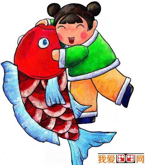 元旦新春儿童水粉画作品欣赏图片