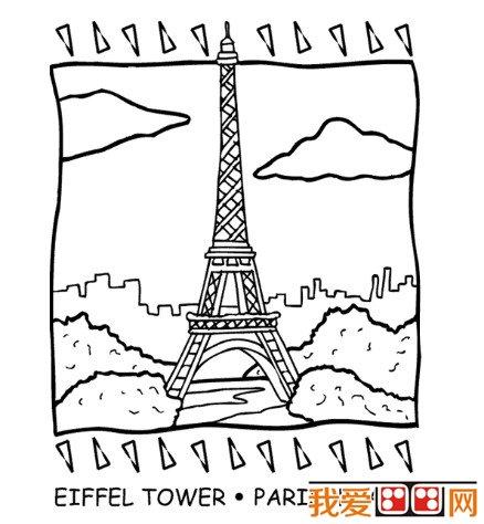 埃菲尔铁塔简笔画作品欣赏