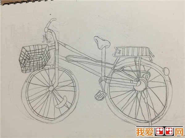 儿童画线描自行车欣赏