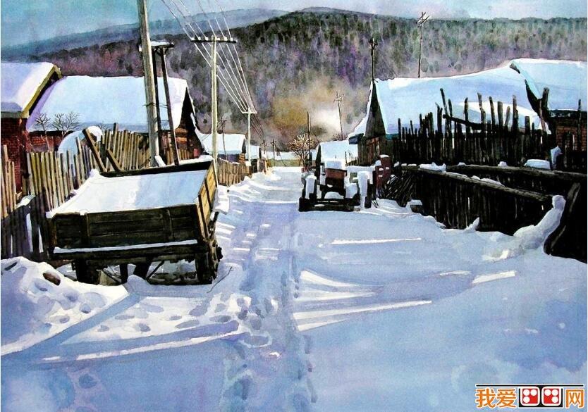 冬日雪景儿童水彩画作品欣赏