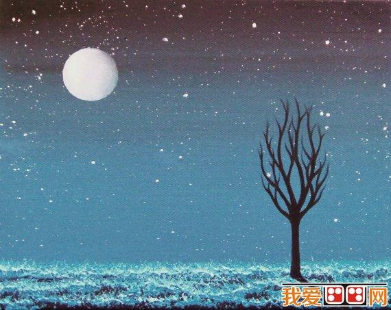 冬日雪景儿童水彩画作品欣赏(4)