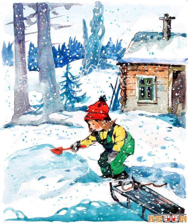 冬日雪景儿童水彩画作品欣赏(6)