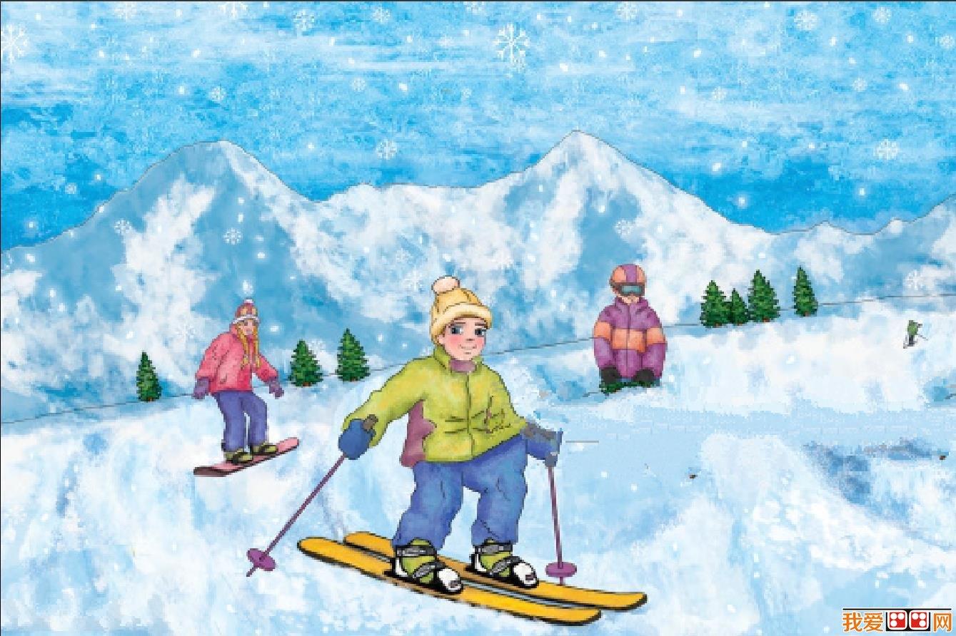 冬日雪景儿童水彩画作品欣赏(7)