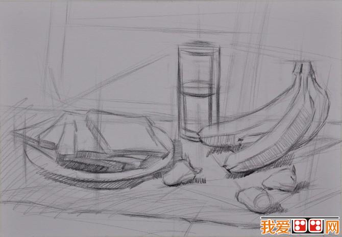 香蕉面包草莓静物组合素描教程步骤-水果静物组合素描教程步骤图片