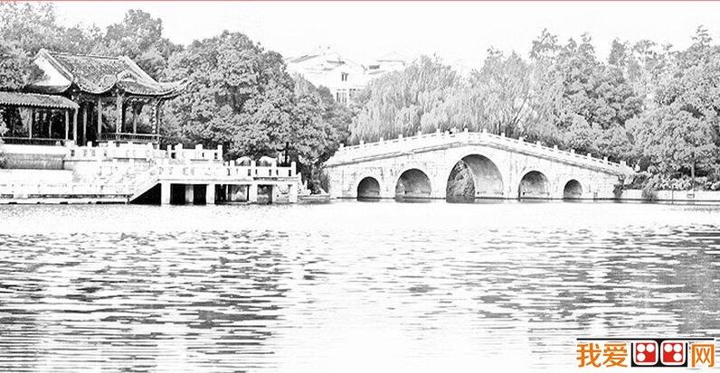 江南小桥流水风景素描作品