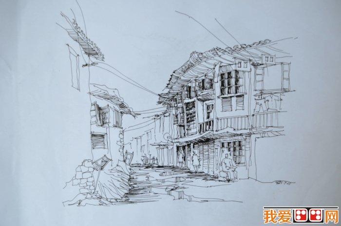 不同风格建筑速写图片(2)