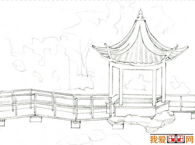 公园凉亭手绘线稿