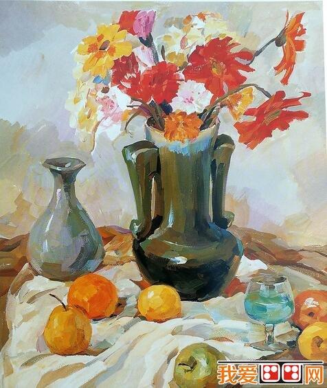 花瓶,鲜花,酒杯,水果静物水粉画教程