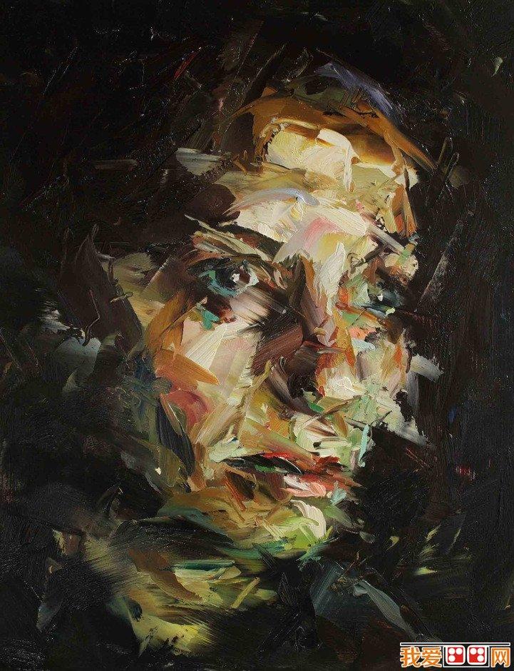 人抽象画图片大全儿童-英国当代画家Paul Wright抽象人物头像油画 2