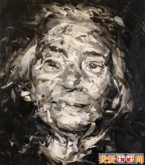 英国当代艺术家_英国当代画家paul wright抽象人物头像油画(7)