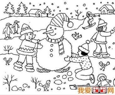 冬天雪景简笔画作品欣赏