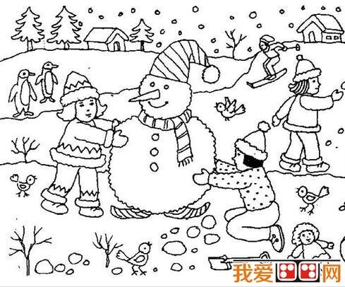 冬天雪景简笔画作品欣赏_儿童画教程_学画画_我爱画画图片