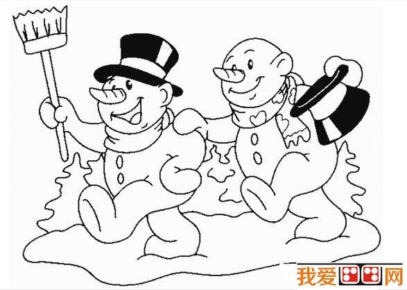 冬天雪景简笔画颜色