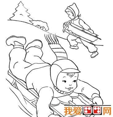 冬天雪景简笔画作品欣赏 4