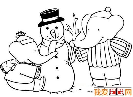 冬天雪景简笔画作品欣赏 5