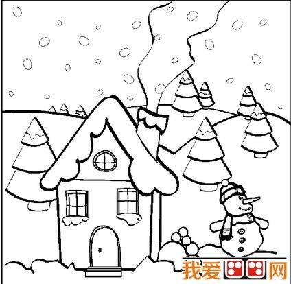 冬天雪景简笔画作品欣赏(6)图片