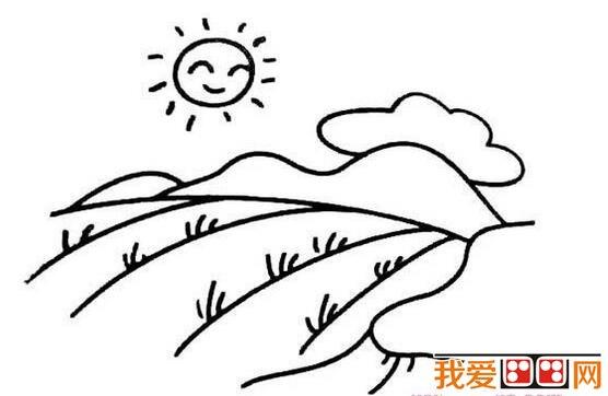 日出景色简笔画作品欣赏图片