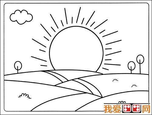 日出景色简笔画作品欣赏 2