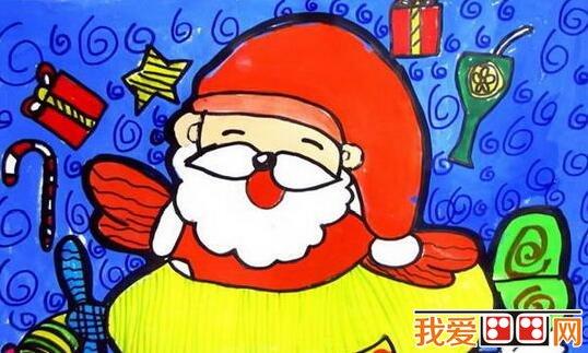 圣诞老人儿童水粉画作品欣赏
