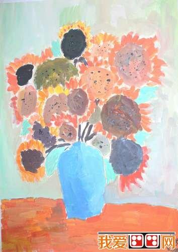 盆栽植物儿童水粉画作品欣赏