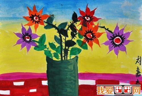 盆栽植物儿童水粉画作品欣赏(4)