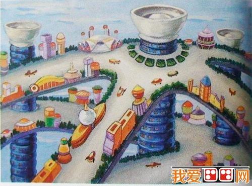 儿童画马来西亚建筑物双子塔