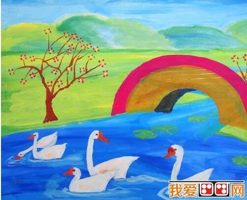 美丽的花园儿童水彩画作品欣赏