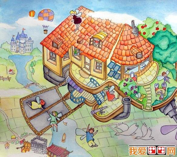 儿童手绘未来高楼