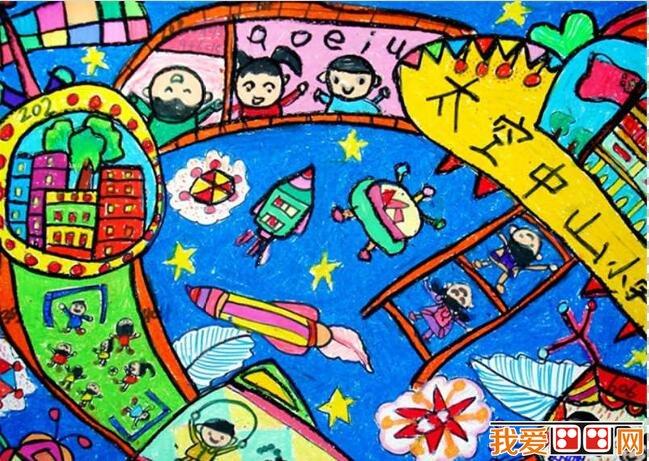 《天空之城》儿童科幻画作品欣赏图片