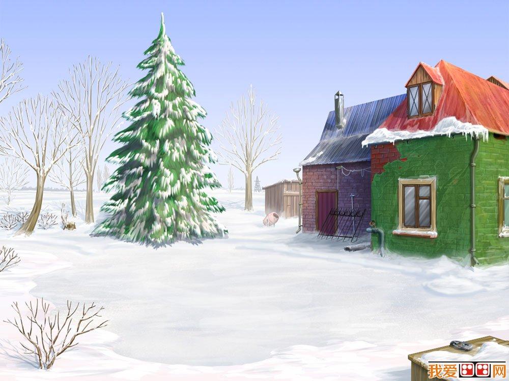 冬天卡通房子图片欣赏