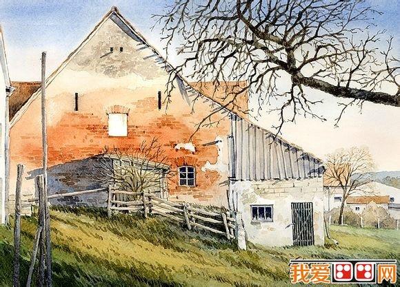德国艺术家水彩画乡村风景作品欣赏之六