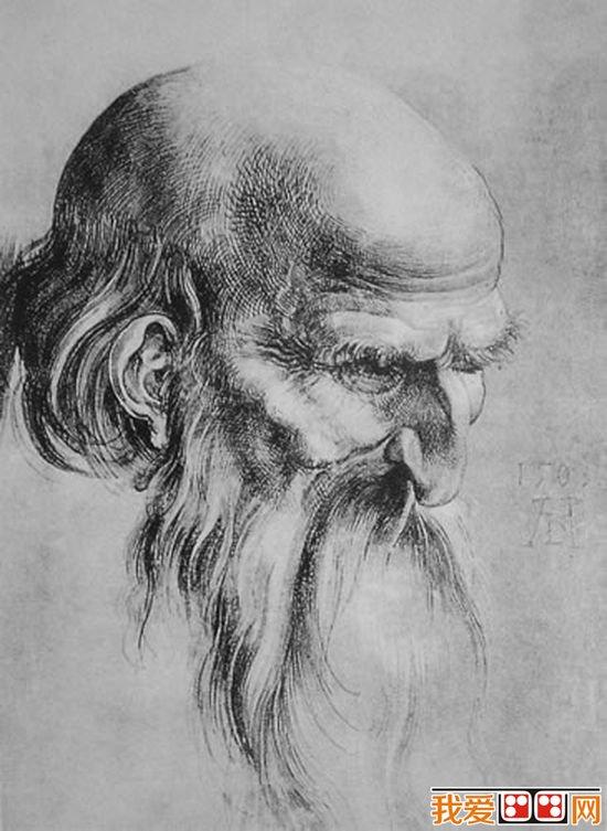 德国著名画家丢勒人物头像侧面素描