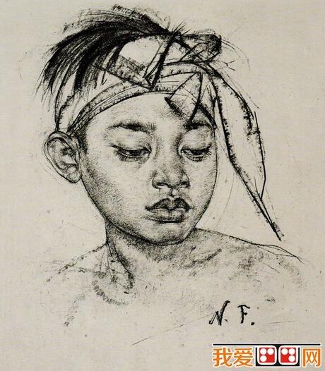 尼古拉·菲钦人物头像素描作品欣赏(2)