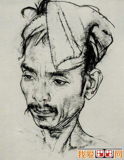 尼古拉·菲钦人物头像素描作品欣赏(5)