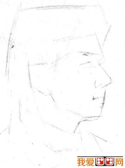 男青年侧面头像素描步骤教程