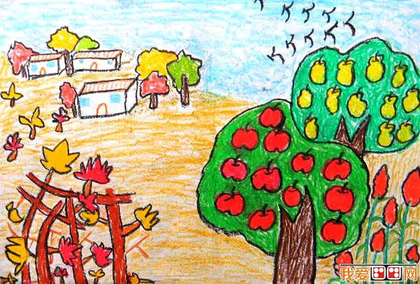 儿童画:秋天美景-天真无 邪 儿童画里的魔性