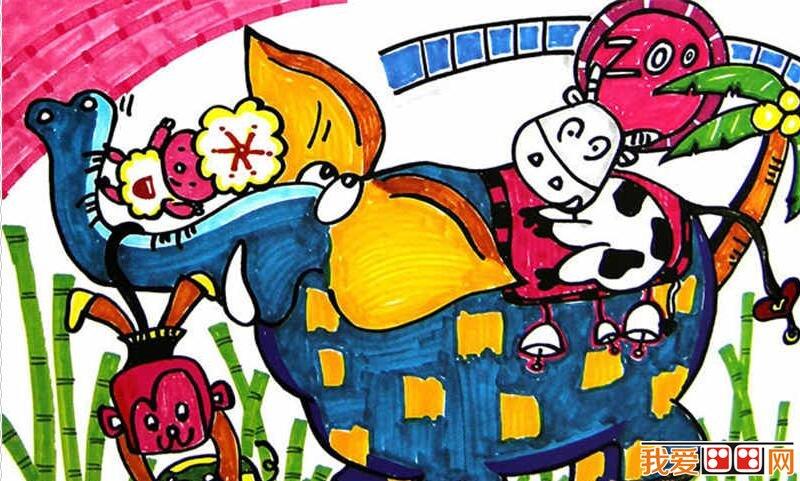 儿童水彩画 > 超萌的个性小动物水彩画作品欣赏(2)      动物世界里有