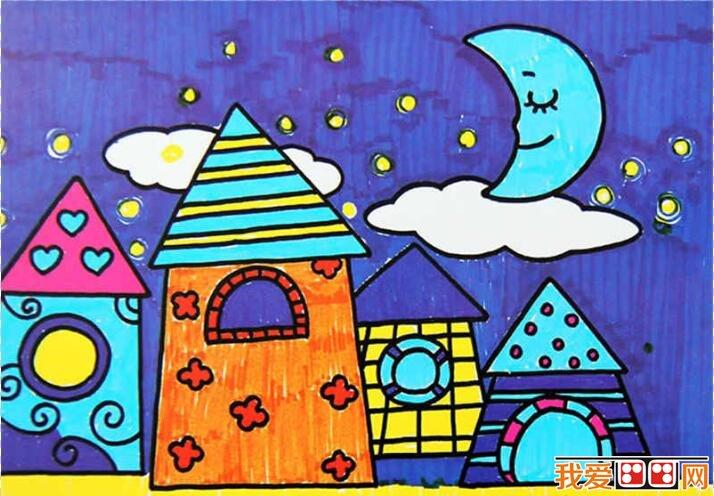 建筑物儿童水彩画作品欣赏