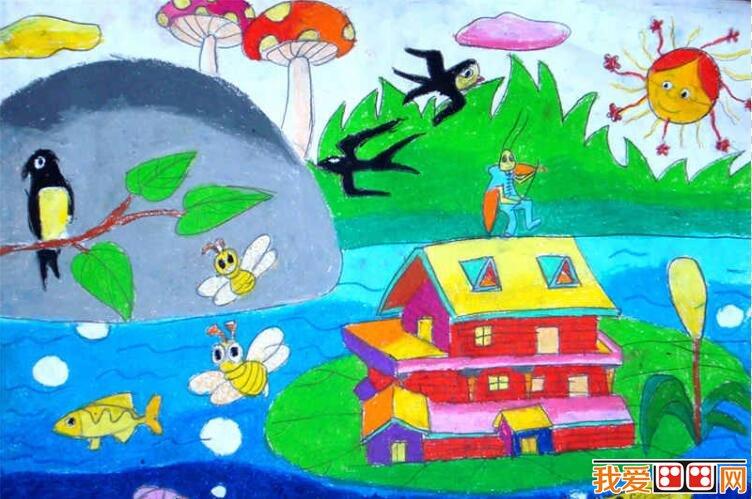 建筑物儿童水彩画作品欣赏_儿童画教程_学画画_我爱
