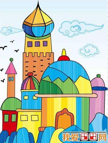 城堡房子简笔画-建筑物儿童水彩画作品欣赏