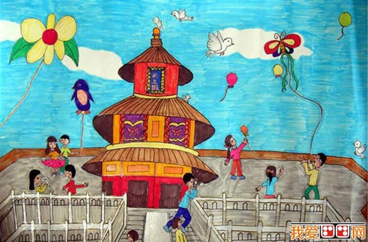 建筑物儿童水彩画作品欣赏(2)