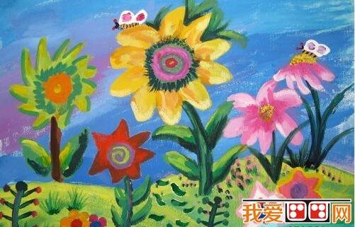 儿童水粉画花朵图片欣赏图片