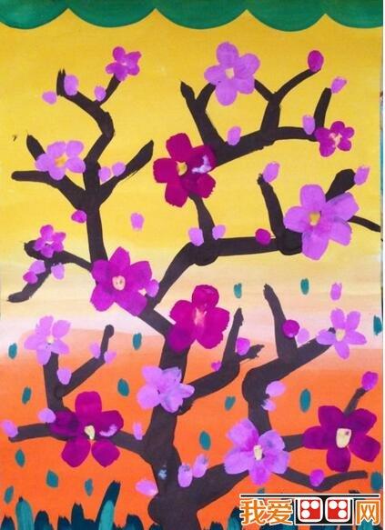 儿童水粉画花朵图片——梅花水粉画