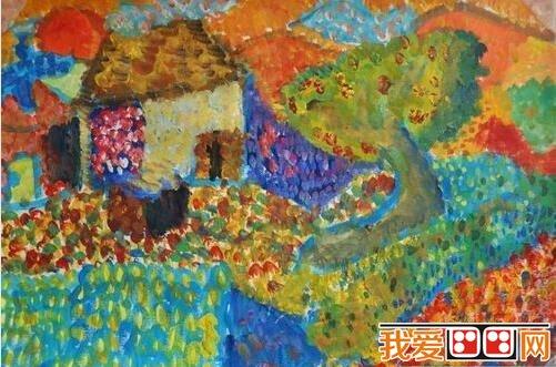 儿童水粉画:乡村风景水粉作品欣赏