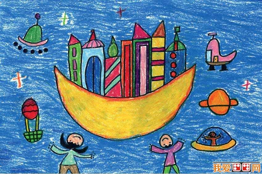 我和月亮--儿童画图片