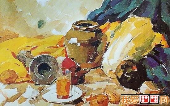 陶罐,土豆,白菜静物组合水粉画教程详解_51自学网