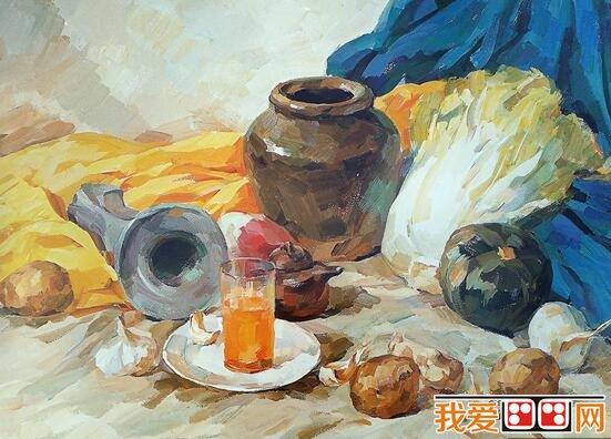 陶罐,土豆,白菜静物组合水粉画教程详解(2)_水彩画_学