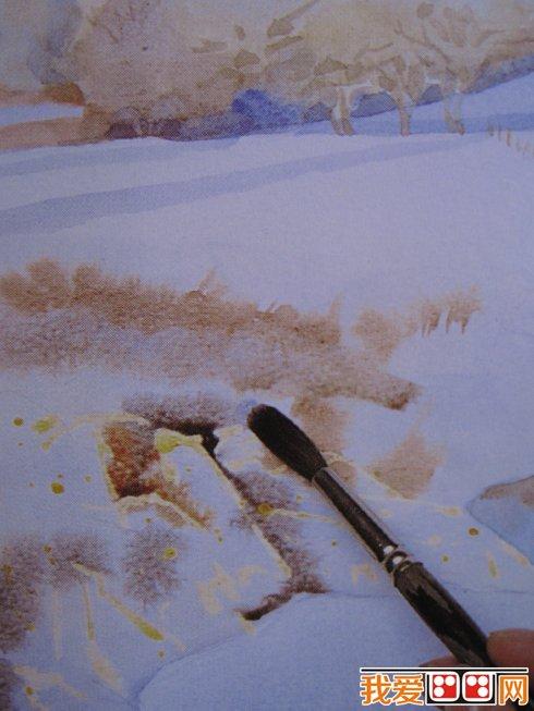 雪景水彩画教程步骤详解