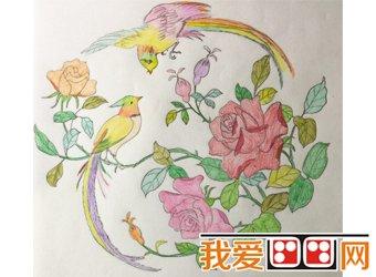 姜禹汐 鸟语花香-天津市第二届少儿绘画大赛获奖作品欣赏